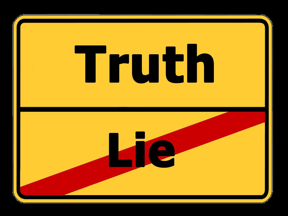 真実と嘘の看板