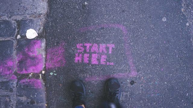 startと書かれた地面