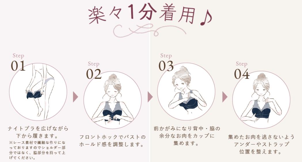ルルクシェルくつろぎ育乳ブラの着用方法